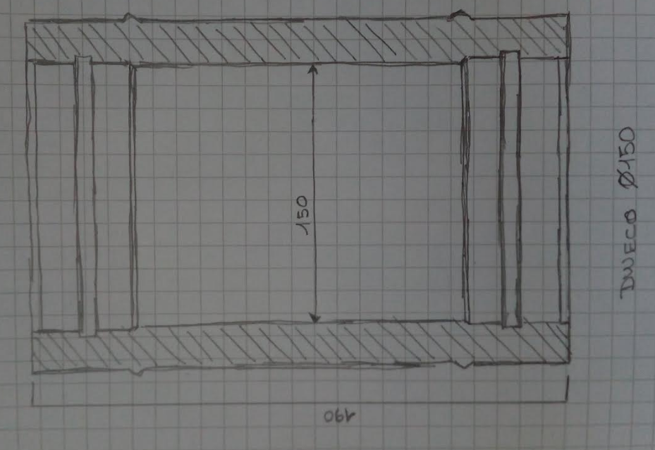 modulo lineare 190 mm M-M ø150